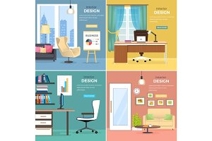 Interior Design of Office Rooms with Furniture