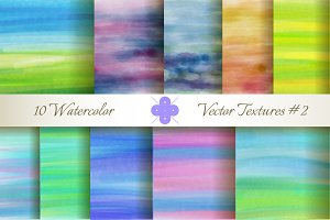 10 Watercolor Vector Textures #2
