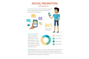 Social Promotion Infographic Boy with Smartphone