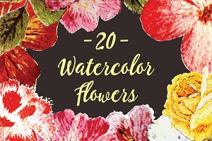 20 Watercolor Flowers
