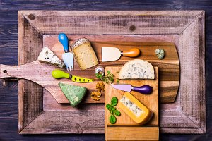cheese on wooden boards