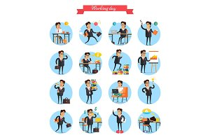 Working Day Busy Template Collection on White