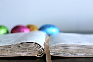 Bible and Easter eggs