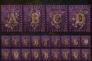 Purple and Gold Gilded Alphabet