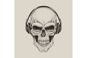 skull in headphones listen a music