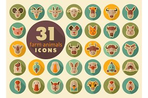 Farm animals flat icons set. Vector head.