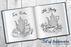 Set Tableware Tea Hand Drawn Sketch