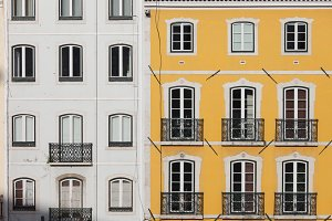 Yellow and White Facade Buildings