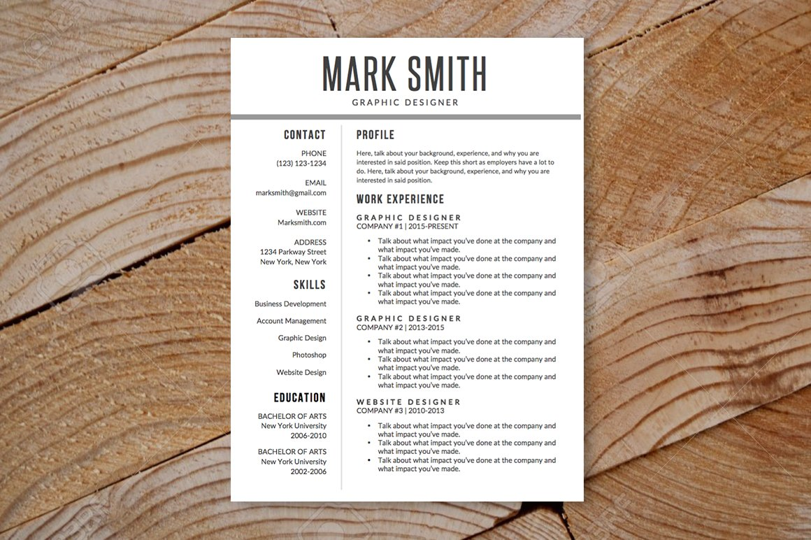 modern resume template ms word resume templates on creative market
