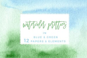 Blue & Green Watercolor Backgrounds