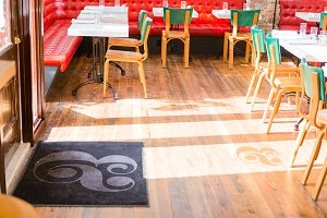 Cafe Floor Mat & Door Shadow Mockup