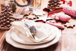 Christmas serving table