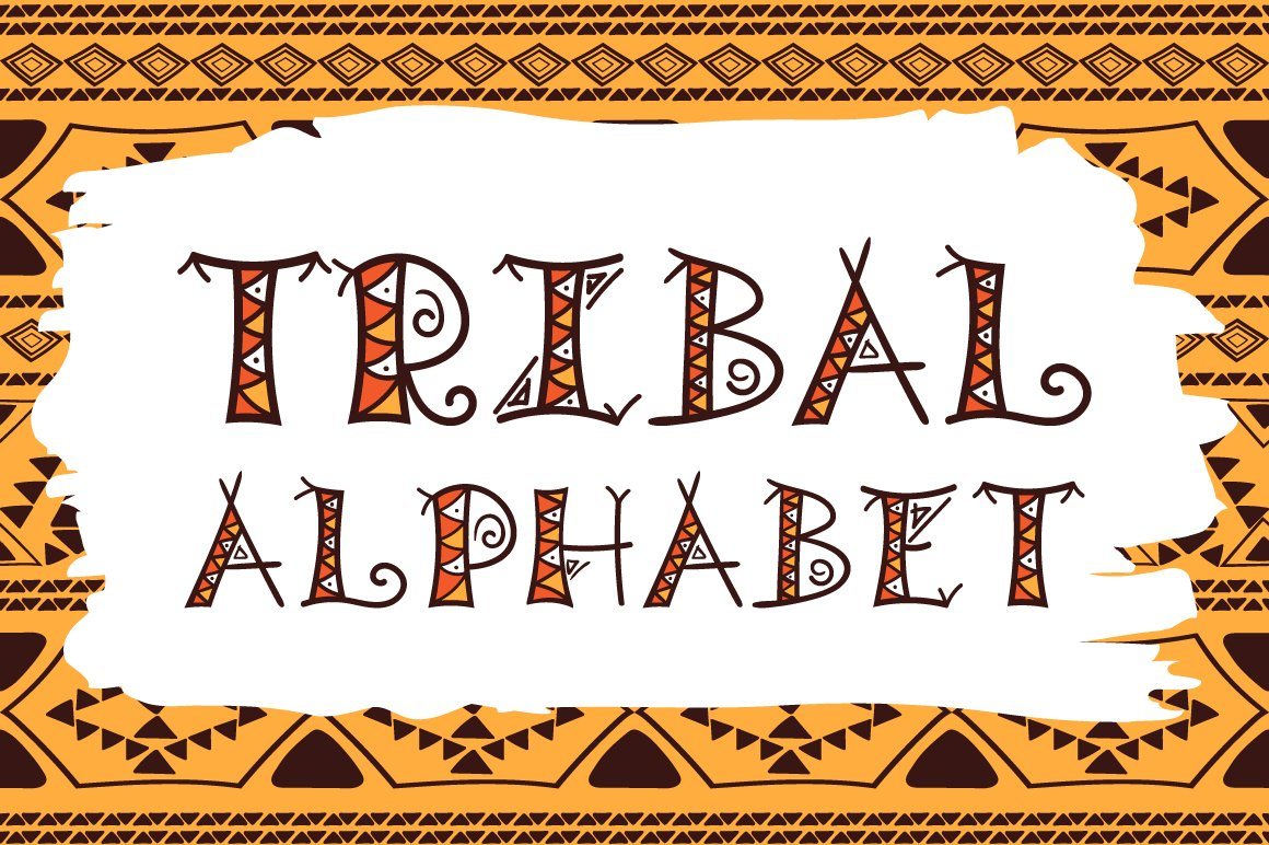 Tribal hand drawn vector alphabet objects creative market biocorpaavc Image collections