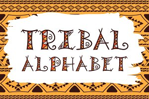 Tribal hand drawn vector alphabet