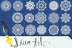 Set of Decorative paper snowflakes.