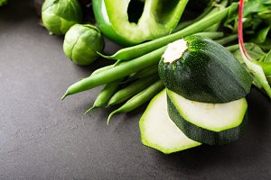 Background with assorted green vegetables