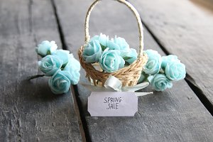 Spring sale idea. Rustic still life, roses and tag.