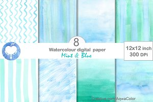Mint & Blue Watercolor Digital Paper