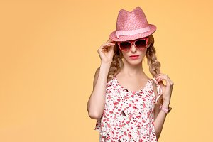 Fashion Hipster girl.Crazy Cheeky emotion.Pink Hat