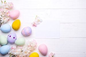Easter eggs painted in colors