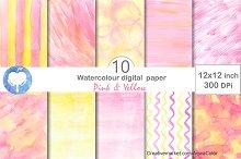 Pink & Yellow Watercolor Paper