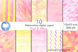 Pink & Yellow Watercolor Paper