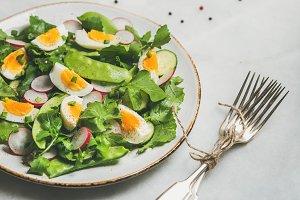Healthy spring green salad