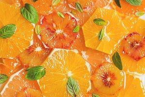 Fresh citrus fruit salad with mint