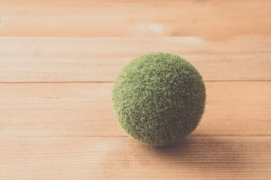 green grass ball on table