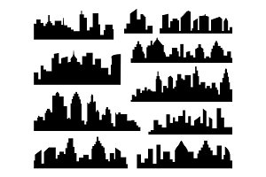 Set of vector Cities Silhouette. Black City Icons on white Background