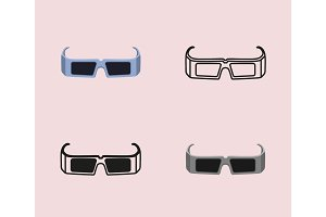 Movie icon set with 3d glasses