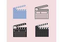 Open movie clapperboard icon set.