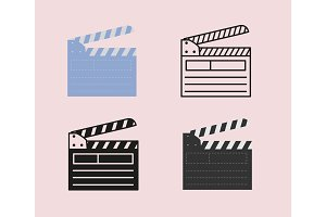 Open movie clapperboard icon set.
