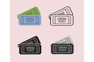 Movie icon set with cinema tickets