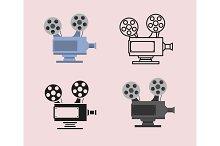 Movie icon set with cinema camera projector