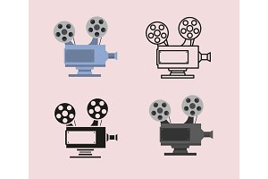 Movie icon set with cinema camera projector