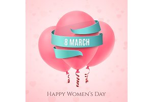 8 March background with three pink balloons.