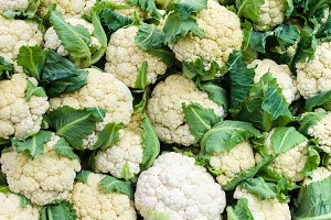 Display of fresh white cauliflower