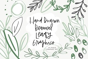 Hand Drawn Botanical Leafy Graphics