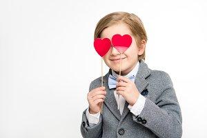 Cute little boy in suit