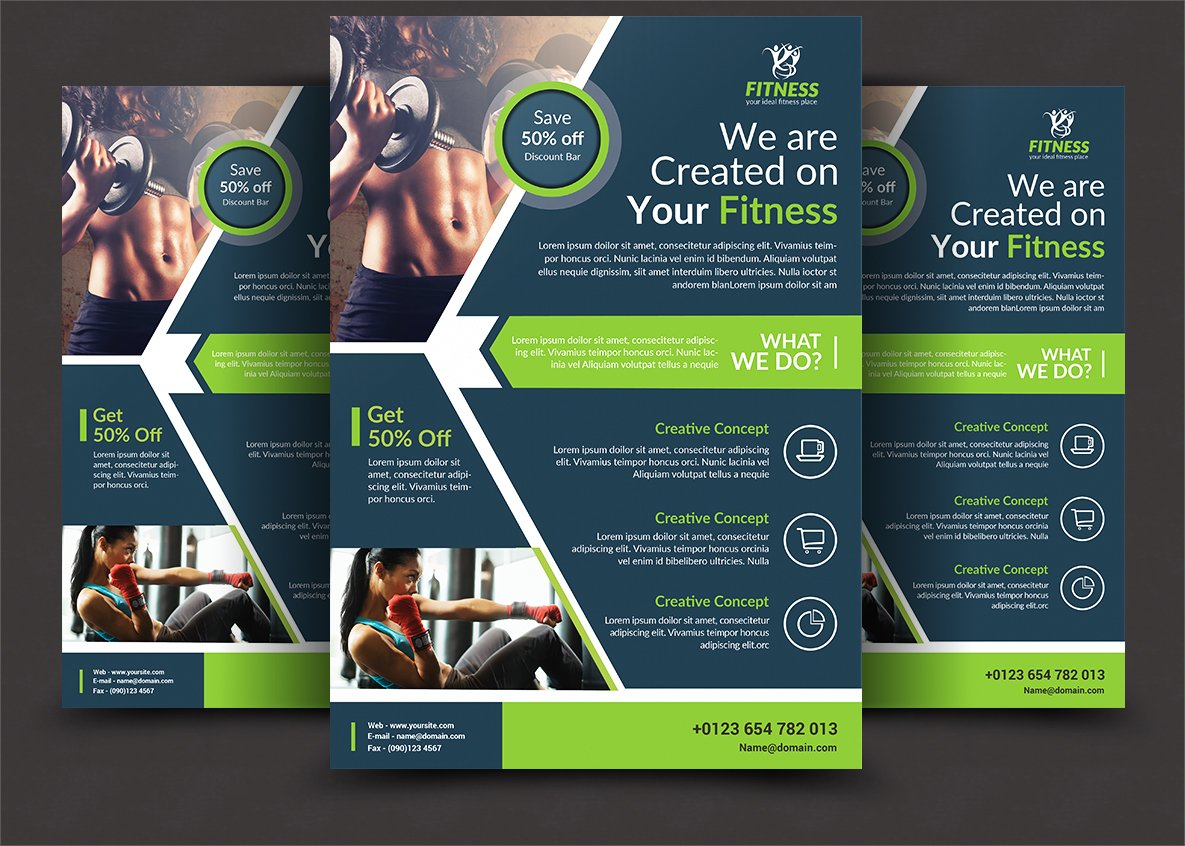 fitness brochure templates - fitness flyer flyer templates creative market