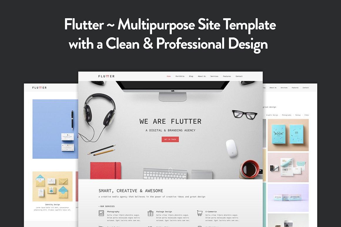 Flutter - Creative HTML5 Template ~ HTML/CSS Themes ~ Creative Market