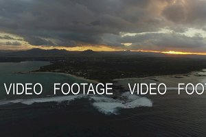 Aerial scene of Mauritius Island at sunset