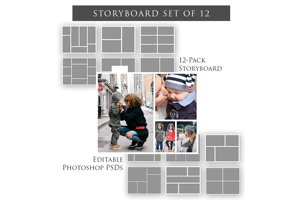 Storyboard templates set of 12 magazine templates for Magazine storyboard template