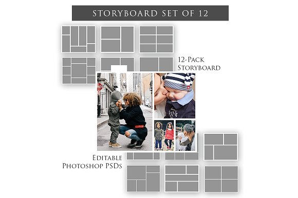 Storyboard templates set of 12 magazine templates creative market saigontimesfo