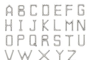 Alphabet made of Metal pipe
