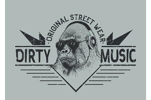 Music fan gorilla.Street style label