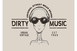 Music fan-alien in headphones