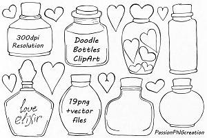 Doodle Bottles Clipart