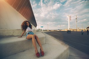Curly girl in urban settings